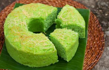 Pandan chiffon cake Traditional Indonesian desert