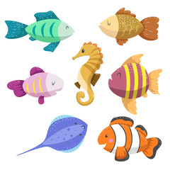 Set of tropical sea and ocean animals. Seahorse, clown fish, stingray and different types of fish. Wildlife and tropic reef vector illustration icons.
