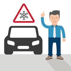 Männchen mit einem Auto und Warnschild Vorsicht Frost