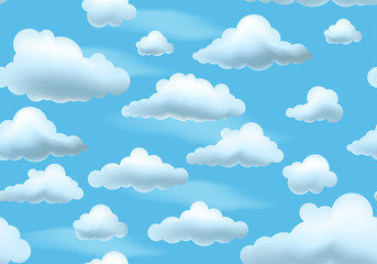 Clouds on blue sky. Seamless pattern. Vector endless background