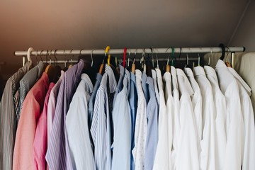 Collection of elegant mens shirts on the hanger