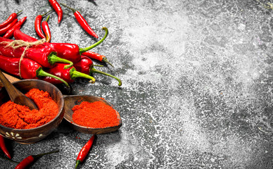 Ground red hot chili peppers in a bowl.