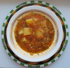 Vegetarian cabbage soup with potatoes