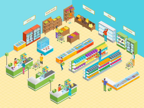Supermarket or Shop Interior with Furniture Isometric View. Vector