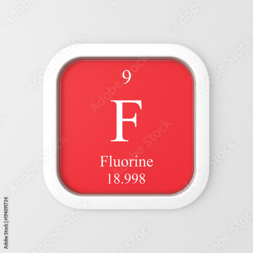 Fluorine Symbol On Red Rounded Square Icon Stock Photo And Royalty