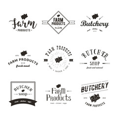 Set of retro styled butchery logo templates. Emblem of Butchery meat shop with Pig silhouette, text The Butchery, Fresh Meat, farm products. Farmer shop, market, restaurant or design banner, sticker.