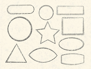 Set of ten grunge vector templates for rubber stamps on old paper background