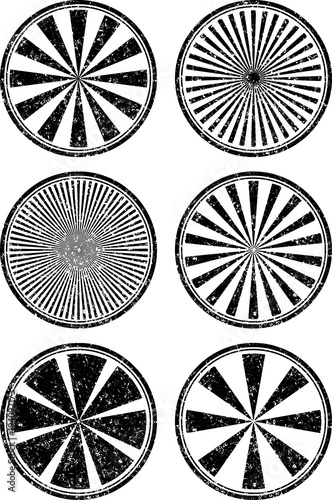 set of six rubber stamps templates with rays stock image and