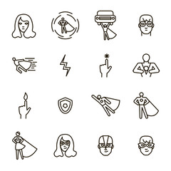 Super Hero Black Thin Line Icon Set. Vector