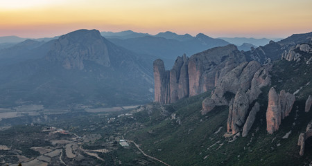Mallos of Riglos in Huesca, long shot after sunset