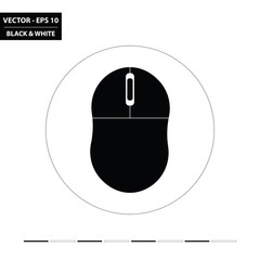 Computer mouse flat black and white icon. Vector Illustration.