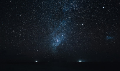 amazing starry sky above ocean at night, Thoddoo island, Maldives