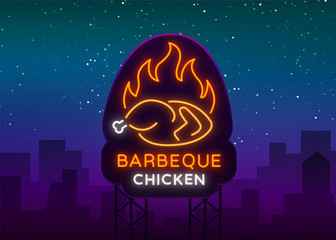 Logo Chicken Barbecue is a neon-style logo for a food store and a restaurant. Neon sign, night bright advertising chicken grill. Vector illustration. Billboard