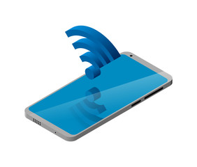 Smartphone in 3D isometry. Sign Wi Fi