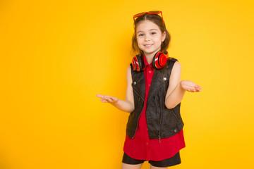 Little girl in headphones