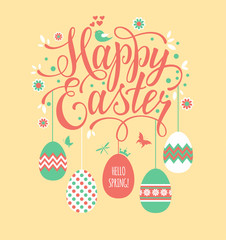 Hand drawn lettering. Easter eggs for Your design