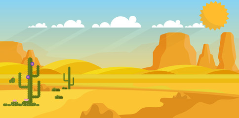 Vector background of landscape with desert and cactus