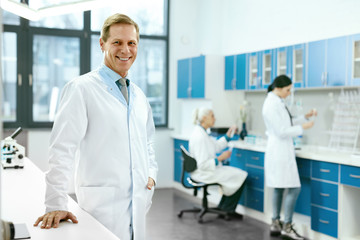 Science. Man Working At Laboratory.