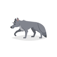 Cartoon cheerful standing wolf. Forest Europe and North America animal. Flat with simple gradients trendy design. Education vector illustration.