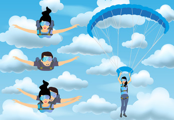 Set of skydivers parachutist characters. Skydiver man and woman flying in the blue cloudy sky. Tandem skydiving. Vector illustration.
