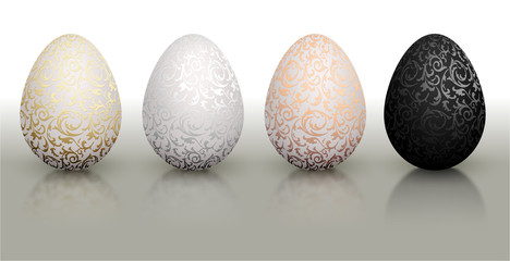 White natural color realistic Easter egg set with metallic floral pattern. Isolated on white background with reflection. Golden, bronze, silver and black color.