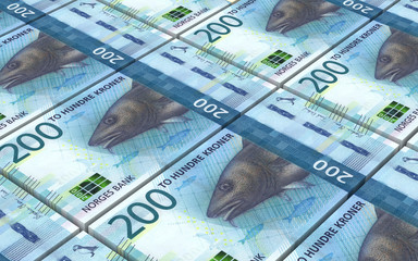 Norwegian krone bills stacks background. 3D illustration