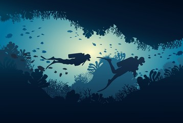 Silhouette of diver, coral reef and underwater cave on a blue sea background. Vector illustration.