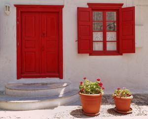 house entrance and flowerpots, Mykonos island, Greece