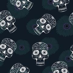 Seamless Pattern with Stylized Sugar Skulls