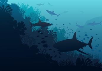 Ocean underwater world with shark, vector illustration