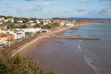 Fototapete - Dawlish Devon England uk English coast town with beach railway train and sea