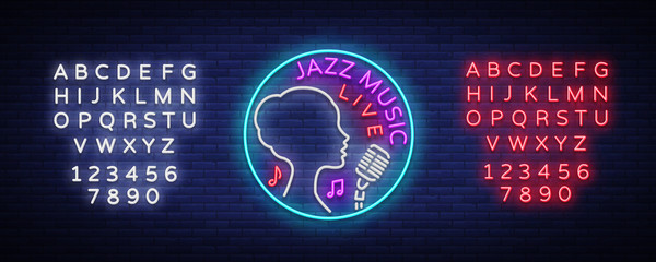 Jazz music is a neon style logo. Neon sign symbol, emblem, light banner, luminous sign. Bright Neon Night Advertising for Jazz Club, Cafe, Bar, Party. Vector illustration. Editing text neon sign
