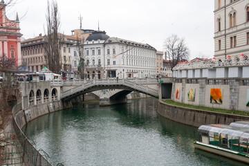 Tromostovje Triple Bridge in Ljubljana (Slovenia)