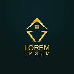 gold house vector logo