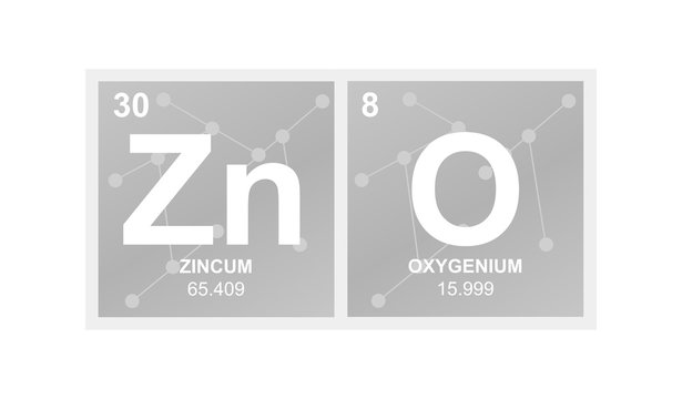 Vector symbol of zinc oxide which is called zinc white on the background from connected molecules
