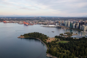 Stanley Park and Coal Harbour in Vancouver, BC, Canada. Wall mural