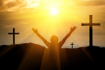 Men raise their arms, crosses the mountain, Christian