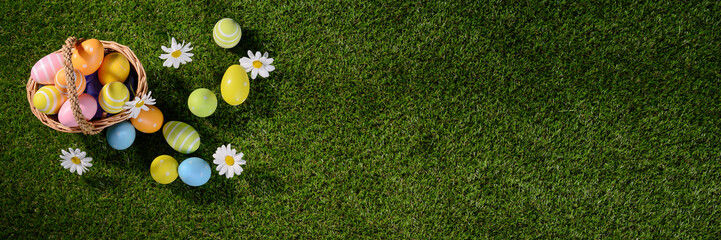 above top view of multi colored painted easter eggs on the green grass with springtime daisy flowers