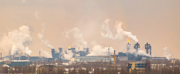 Smoke from the pipes in the factory