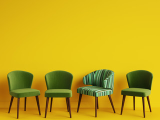 A chair with pattern colorful stripes among simple green chairs on yellow backgrond with copy space.Concept of minimalism. Digital illustration.3d rendering mock up