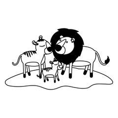 cartoon lions couple and cub over grass in black silhouette vector illustration