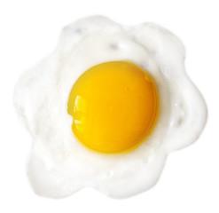 Tasty beautiful food fried egg on white background.