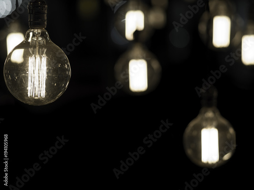 Filament Antique Looking Light Bulbs Hanging From Ceiling