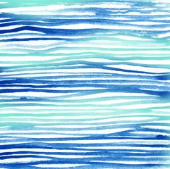 Watercolor paper texture lines pattern blue. Design print stripes background