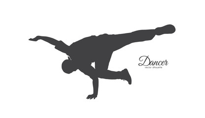 Silhouette of expressive break dance. Young man dancing of Hip Hop on white background