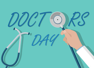 Doctor day vector concept. Doctor hand holding stethoscope flat style illustration.