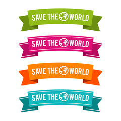 Colorful Save the World ribbons. Eps10 Vector.
