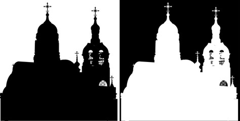 black and white orthodox church silhouettes