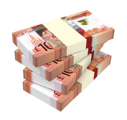 Scotland pound bills isolated on white with clipping path. 3D illustration