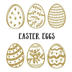Hand drawn easter eggs set isolated on white background.